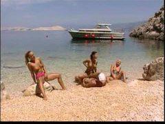 Boat captain fucks three babes on the beach videos