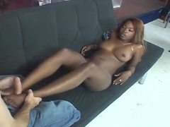 Black gal gives one hell of a footjob movies at kilotop.com