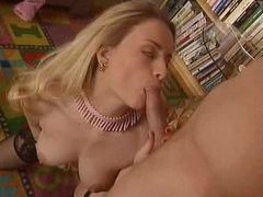 Classy blonde in stockings and garter in threesome movies at kilopics.net