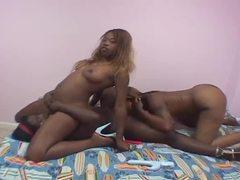 Three black lesbians mess around in bed movies at sgirls.net