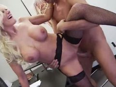 Incredible blonde milf in fishnets gets boned videos