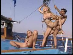 Hot threesome on a boat with facial movies