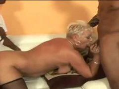 Two black dudes pound a curvy mature blonde movies at sgirls.net