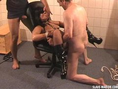 Amateur girl dominated by 2 guys in the cellar movies