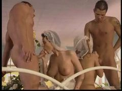 Two horny brides in hot foursome movies at freekiloclips.com