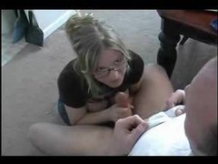 Amateur in glasses gives lovely handjob videos