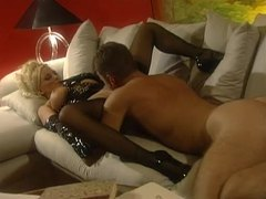 Super hot black latex lingerie on blonde bimbo babe videos