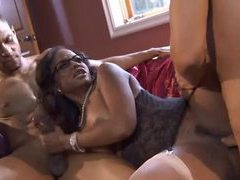 Black girl in glasses loves both dicks clip
