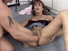 He fucks the bitch and fists her hard movies at lingerie-mania.com