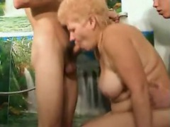 Old blonde babe entertaining two young cocks movies at find-best-hardcore.com