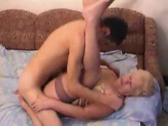 Old slut in stockings boned on the bed movies at kilovideos.com