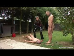 Dominant chick in latex abuses her slaves tubes