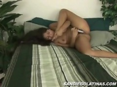 Lusty latina takes off her clothes and fucks her snatch clip