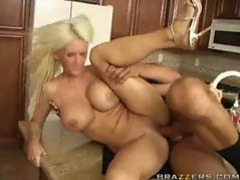 Busty blonde mom fucked with a stiff dong videos