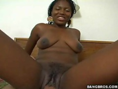 Natural black chick sitting on a hard white cock videos