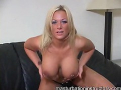 Busty blonde tells you to jerk off tubes