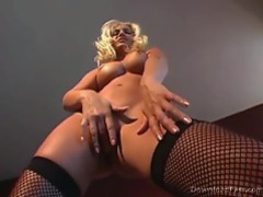 Beautiful blonde in fishnets stripping videos