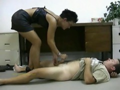 Office slut gives hot handjob movies