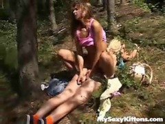 Lesbians getting wild in the forest tubes