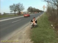 Chick pisses on the highway videos