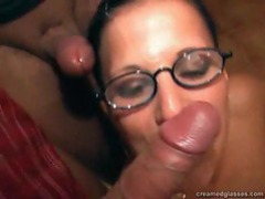 Cumshots on her glasses movies