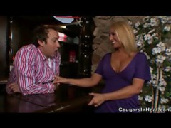 Hot cougar putting the moves on a bartender tubes