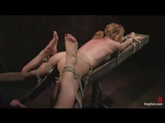 Sexy blonde tied up and fucked with a dildo machine videos
