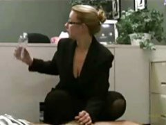 Professional babe in glasses giving a handjob tubes