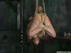 Girl is put in the wildest rope bondage suspension ever videos