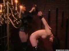 Sexy girl is put into bondage and gagged tubes