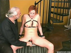 Slave is learning about pain from clamping tubes