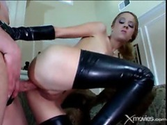 Slut in latex boots and gloves takes his cock in her hole videos