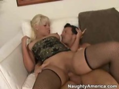 Blonde in fishnets taking cock up her pussy hole movies at find-best-ass.com