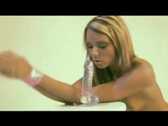 Beautiful blonde gives blowjob to dildo videos