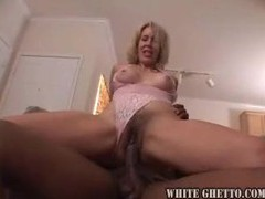 Blonde milf in pink lace devours black guy videos