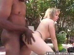 Mature blonde with big hooters does black outside movies at freekilosex.com