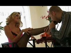 He's allowed to lick her beautiful stocking toes movies at sgirls.net