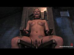 Solo girl in a bondage chair getting dildo fucked videos