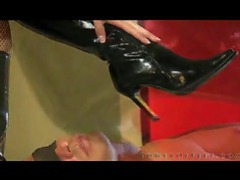 He licks her boots and she rubs her stockinged feet on his body movies at sgirls.net