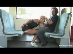 Chick giving a blowjob on a public train videos