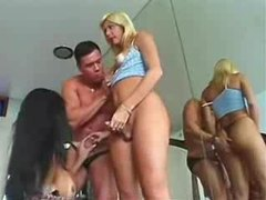 Shemales dominate and double team him movies at sgirls.net