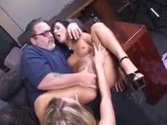 Chubby older guy plays with two cuties movies at freekiloclips.com