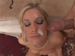 Hot blonde takes two messy facials videos