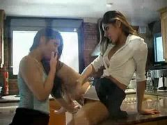 Girls squirt lots and pee in the kitchen movies