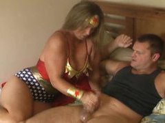 Superhero girl gives him a hot handy videos