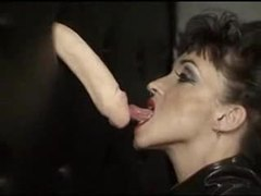 Huge tit chick in latex gives gloryhole blowjob videos