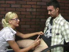 Super cute blonde binds his hands before stroking videos