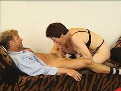Mature takes banana and his cock in her pussy movies at lingerie-mania.com