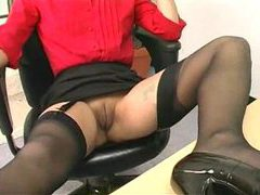 Secretary modeling her gorgeous milf stockings videos
