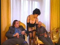 Chick in sexy gloves and her two men movies
